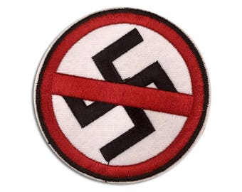 Patches For Jackets - NO NAZIS PATCH | Anti-Racist - Iron On, Embroidered, Handmade Jacket Patches, Anti Racism - Great Gift!