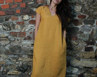 Linen midi dress in 10 colors, Summer dress, Linen dress plus size, Natural linen dress,Mustard linen dress, Knee length dress, Office linen