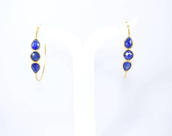 sapphire earring, hoop earring, gold plating earring  , gemstone hoop earring, September birthstone  anniversary gift,