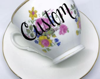 FREE SHIPPING - Cheeky China, CUSTOM!! Pink and Gold Tea Cup & Saucer