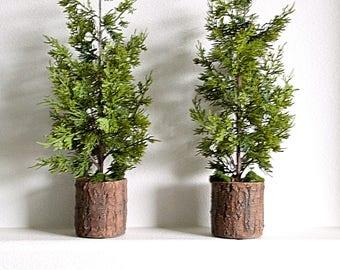 22 set of 2 soft pine mini christmas topiary trees for mantel mantel decor - Mini Christmas Trees