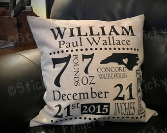 Personalized Baby Birth Stat Pillow (Birth Announcement)
