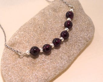 Garnet necklace - silver Garnet necklace - Garnet beaded necklace - beaded necklace - sterling silver necklace - Red Garnet jewelry