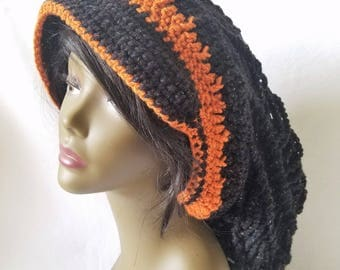Crochet Slouch Hat, Crochet Mesh Slouch Hat, Crochet Dreadlock Hat, Crochet Mesh Hat, Long Hair Hat, Womens Mesh Hat, Crochet Tam, Gift Idea