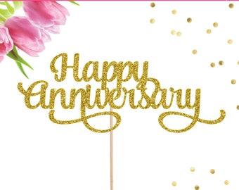 Happy Anniversary Cake Topper, Anniversary Topper, Wedding Anniversary Topper, Anniversary Decor, 1st Anniversary, First Anniversary Party
