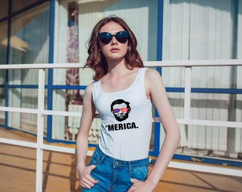 Tank top/ Summer Shirt/womens Shirt/Gift for her/Fourth of July/4th of July/Short Sleeve/Gift/Merica/Abraham Lincoln/Fourth of jury shirt/