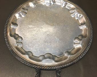 Vintage Silver on Copper Ornate Handled Serving Tray by Fina