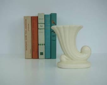 Vintage White Cornucopia Vase, Classic 1940's Iconic Ceramics