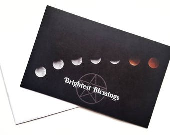 Pagan Greetings Card, Pagan Blessings, Handfasting Card, Moon Phases, Pentagram Card, Brightest Blessings, Pagan Gift, Wiccan Card