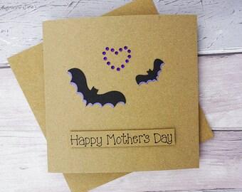 Mother's Day bat card, Mother & child bat handmade card for Mum, Happy Mother's Day bat card, Mothering Sunday, Birthday card, Goth card