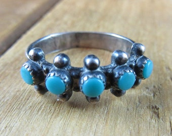 Vintage Turquoise Ring Size 6 1/4 Native American Southwest Sterling Silver Artisan