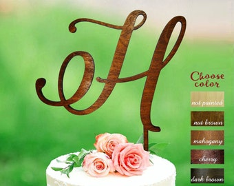h cake topper, letter cake topper, cake topper for wedding, initial cake topper, monogram cake topper, rustic cake topper, wooden h, CT#123