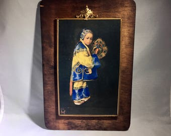 Boy in Traditional Costume, Wood Plaque