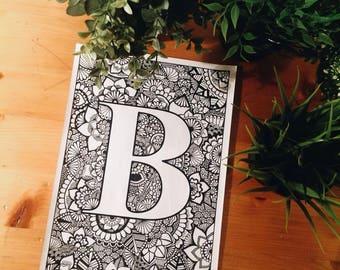 Letra B Zentangle