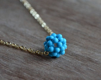 SALE, Turquoise Beaded Necklace in Gold, Gift For Her, Blue Necklace, Beaded Jewelry,  Single Bead Necklace, Collier Bleu