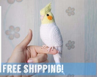 Crochet Cocatiel Toy Amigurumi Parrot EasterBird Lovebird Gift for Child Cockatiel stuffed animal Bird sculpture  Plushies gift ideas
