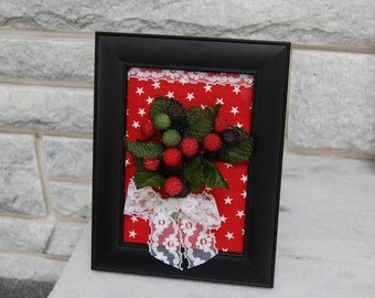 Black Picture Frame with Country Floral Arrangement, Sale, Silk Flowers #242