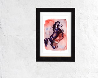 print, art, horse print, wall art, horse art, horse painting, equestrian, ranch, horse lover, gift, ranch, barn, decor, saltwatercolors
