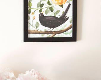 Black Bird and the Rose Illustration Print