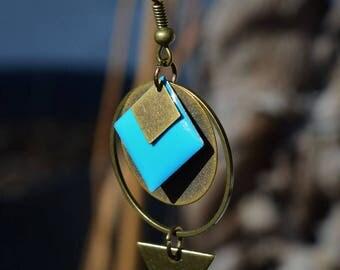 Sky blue and bronze earrings deep - Rhombus and triangle