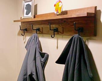 Wood Coat Rack, Floating Shelf, Coat Rack Shelf, Entryway Shelf, Bathroom Shelf