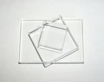 Acrylic Blocks for Clear Silicone Rubber Stamps Mounting, Stamping Block Set of 3 pcs, Various Sizes
