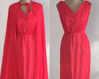 Vintage 1960's Silk Chiffon Cape & Nightgown Set by Bloomfield's