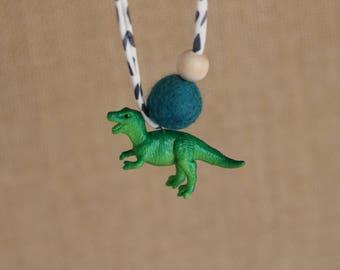 Green Dinosaur 2 - Children's Felt Ball Dinosaur Necklace