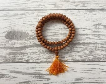 Aromatic Sandalwood 108 Beads Mala Bead Necklace / Reiki, Yoga, Meditation, Spiritual Practice Bohemian Prayer Buddhist Natural Boho Gift