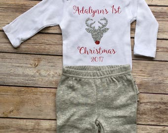 Baby's first Christmas , first Christmas onesie, baby's first Christmas bodysuit, Reindeer onesie, glitter Reindeer bodysuit , 1st Christmas