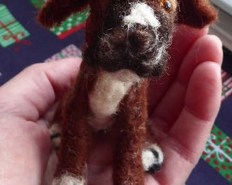 Adorable needle felted Boxer dog, miniature dog, wool felt pet, dog portrait, soft sculpture, tiny animal figure