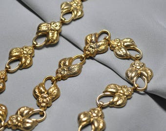 1 Foot Speciality Floral & Leaf Link Chain Die Cast Raw Brass New Made in USA 11V