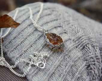Amber Sterling Silver Leaf Pendant