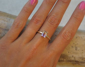 Yellow Gold Ametrine Ring  | 7x5 Emerald Cut Yellow & Purple Stone | Amethyst and Citrine | Solitaire Ring | Made To Order