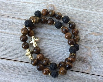 Essential Oil Diffuser Bracelet Set, Aromatherapy Bracelets, Lava Diffuser, Tiger Eye, Includes 1ml EO Sample Blend, Ships FREE in US