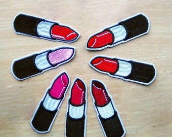 Lipstick patch, Iron-on / Sew-on, Rayon Patch, Embroidered Patches Applique Embroidery • Surreal Art Trash Punk Rock Hippie Street