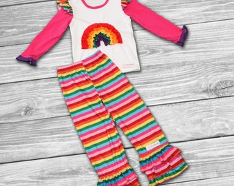 girls rainbow outfit-easter dress girls-girls spring outfit-baby ruffle outfit-girls boutique outfit-girl boutique clothing-Easter Outfit