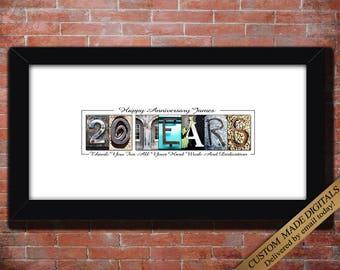 20 Year Work Anniversary Gift, DIGITAL, 5 Year Work Anniversary  Employee Gift, Forty Fifty Year Employee Anniversary Guestbook PRINTABLE