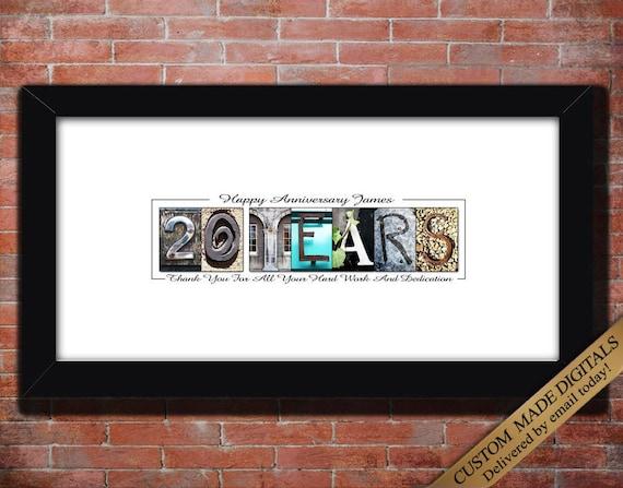 Wedding Anniversary 20 Years Gift: 20 Year Work Anniversary Gift DIGITAL 5 Year Work