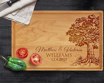 Personalized Cutting Board Custom, Tree Last Name - Custom Wedding Gift,  Mother's Day Gift, Engraved Cutting Board, Christmas, Housewarming