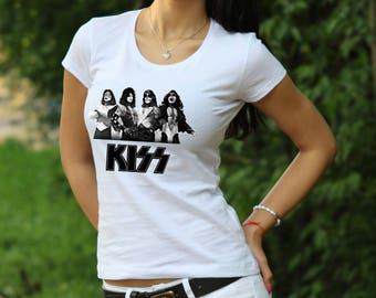 KISS Band Tshirt Gene Simmons T shirt Tee Rock Tee KISS rock T shirt Women's T-shirt shirt Heavy metal shirt KISS Band shirt