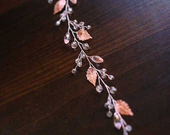 Rose gold leaves Bridal Hair Vine - Wedding hair vine- Bride hair accessories -Pearl hair vine -Bohemian bridal headpiece -Bridal hair piece