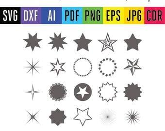 Star Svg Stars Monogram cut file Svg Stars Frames Svg Stars cut Svg Cut Files Silhouette Studio Cricut Svg Dxf Jpg Png Eps Pdf Ai Cdr
