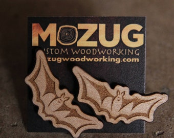 Bat earrings - lasercut - wooden - maple