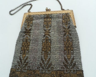 Antique French steel micro beaded purse