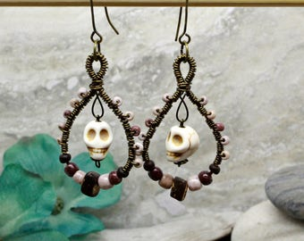 A touch of macabre- wire wrapped earring set