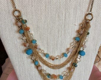 Goldtone Bib Necklace with Aqua/Champagne and Clear Stones
