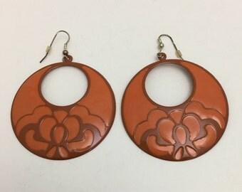 Vintage Large Disk Hoop Earrings Orange Enamel Embossed Floral 2 inch Round Pierced 1990s Statement Boho Bold Dangle Drop