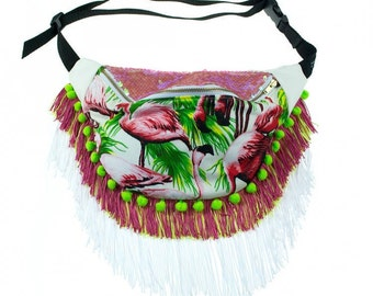 BOHO HEROINE FASHIONS: Tropical Print Fanny Pack w/Iridescent Pink Sequin Lid, Lime Green Pom-Pom Trim, White Eco Leather, 3-Color Fringe