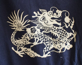 Golden Dragon T shirt, hand printed